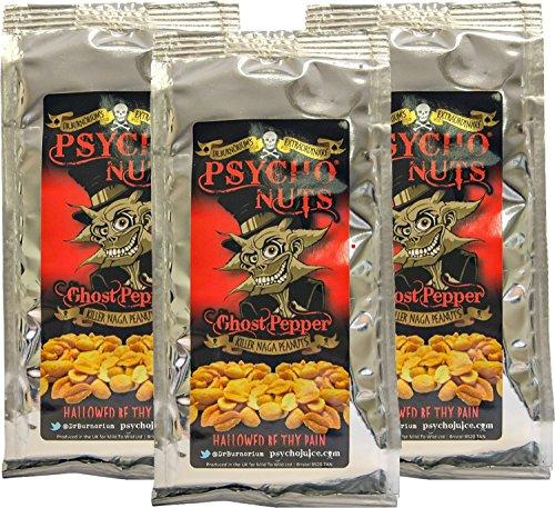 Dr. Burnorium's Psycho Nuts 3 x Paquetes De Cacahuetes (Pimienta De Fantasma) *muy picantes* 80 g