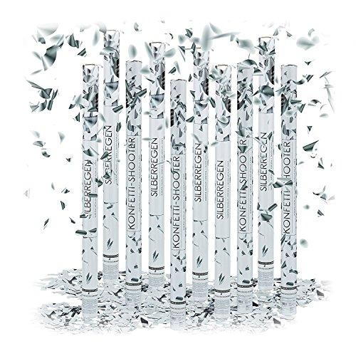 10x Party-Popper 40 cm, 6-8m Effekthöhe, Hochzeitsdeko Konfetti-Shooter, Konfetti-Kanone, Hochzeitsgeschenke, silber