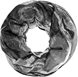 styleBREAKER Loop Schal mit Aquarell Wischeffekt Muster Print, Schlauchschal, Tuch, Damen 01016158, Farbe:Schwarz-Grau-Weiß