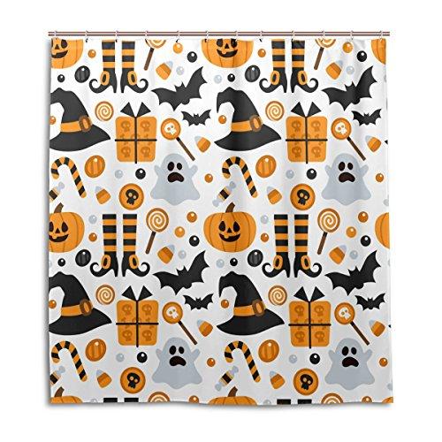 jstel Decor Vorhang für die Dusche Halloween Kürbis Geist Fledermaus Candy Muster Print 100% Polyester Stoff 167,6x 182,9cm für Home Badezimmer Deko Dusche Bad Vorhänge mit Kunststoff Haken (Halloween-long Geist Beach)