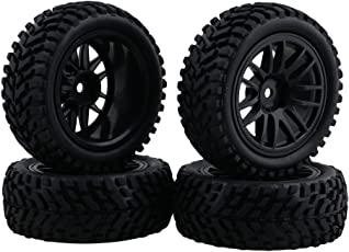 BQLZR RC 1:10 Wheel Rim Rubber Tyre Tires for Off-Road Vehicles, 3.35-inch (Black) - Pack of 4