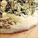 Deggodech Plüsch Weihnachtsbaum Röcke Weihnachtsschmuck Kunstfell Weiß Weihnachten Baum Rock Urlaub Baum Ornamente Dekoration für Weihnachten (78cm)