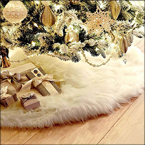 Deggodech Blanco Falda del árbol de Navidad Suave Felpa ornamentos de árbol de vacaciones Navidad decoración de Parte Inferior (90cm)
