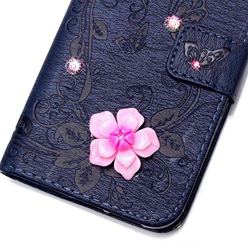 iPhone 7 Plus Hülle,iPhone 7 Plus Case,Cozy Hut ® Ultra Slim Flip Lederhülle / Ledertasche / Hülle / Case / Cover / Etui / Tasche für iPhone 7 Plus / 3D Diamant Strass Bling Glitzer Schmetterlings-Blu marineblau Butterfly flowers