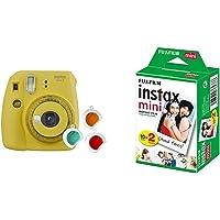 Fujifilm Instax Mini 9 Yellow Fotocamera per Stampe, Formato 62 x 46 mm, Giallo & Instax Mini Film, Pellicola istantanea…