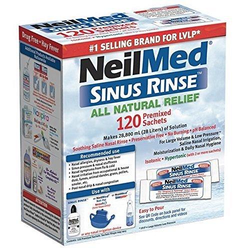 NeilMed Sinus Spülen 120 Vorgemischte Sachets (Kochsalzlösung Nasenspülung)