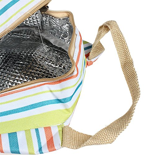 Portable Cooler termiche a righe da viaggio picnic pranzo Carry Tote Storage Case Green