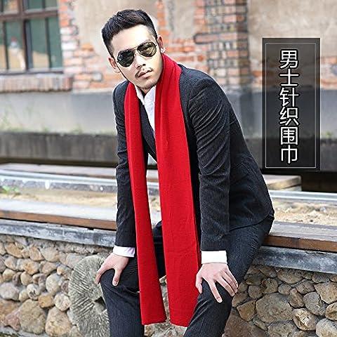 In autunno e in inverno gli uomini alla moda in stile inglese con colori solidi sciarpe semplici uomini di spessore Sciarpa lavorata a maglia in cotone Lana W-250