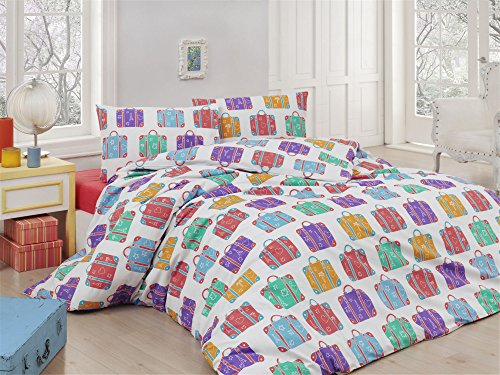 LaModaHome 2Pcs Schlafzimmer Soft farbigen 100% Baumwolle Ranforce Single Quilt Bettbezug Set Bag Travel Colorful Love Leaf Eiffelturm Geschichte Einzelbett (Queen-size-bett-bag-sets)