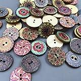 Gracorgzjs??? 100x Mixed Vintage Colorful Blumen Holz Knöpfe Scrapbooking Nähen Craft 20mm ¡ï ¡ï, Holz, 1#