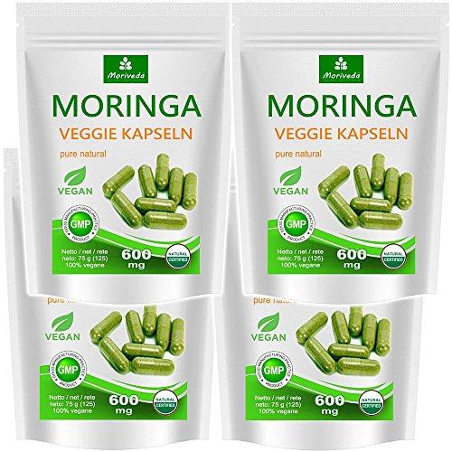 Moringa Kapseln 500 VEGGIE Oleifera hochdosiert 600mg – 100% vegane Rohkost von MoriVeda (4x125 Kapseln) (Nahrungsergänzung Superfood, Antioxidative)