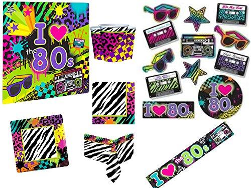 Stück 80er Jahre komplette Party Kit Erwachsene unter dem Motto Kostüm Party 80er Jahre 1980er Jahre Neon Party Geschirr Feier Dekorationen Zubehör ()