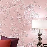3D Pastoral Stereo Effekt Beflockung Geprägt Blume Wohnzimmer Schlafzimmer TV Hintergrund Vlies Tapete Rolle (Rosa)