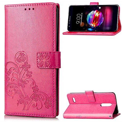 LAGUI Hülle Geeignet für LG K8 2018 / LG K9, Schönes Muster Brieftasche Handyhülle Mit Kartenfächern, und Fach und Magnetische Verschluss, Anti-Scratch, stoßfeste. Rot -