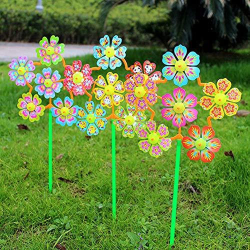 pittospwer 2 Stücke Blume Windmühle Wind Spinner Windräder Hausgarten Yard Decor Kinder Spielzeug