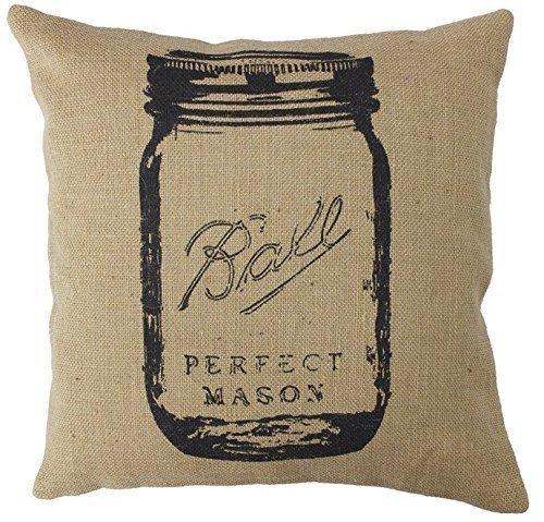 WENEOO LA Decorative 18 X 18 Inch Cotton Linen Cloth Pillow Cover Cushion Case Country Feed Sack Mason Jar (Mason Kuh Jars)
