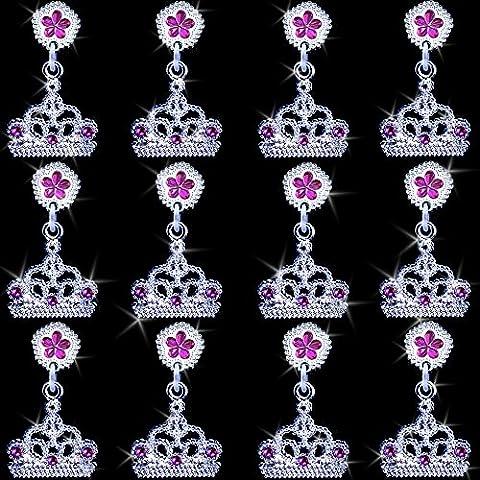 German Trendseller® - 6 x boucles d'oreille de couronne à clip┃3 pairs┃bijoux de filles┃ l'anniversaire d'enfants┃ petit cadeau┃bijouterie pour petites princesses