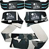 Nordic Lifting Lifting Straps (2 Pairs/4 Straps) For Weightlifting, Crossfit, Workout, Gym, Powerlifting, Bodybuilding - Better Than Chalk & Leather - Support For Women & Men - Premium Quality Equipment & Accessories - Use Gloves, Hooks, Wrist Wraps & Straps To Avoid Injury During Weight Lifting - (Aqua Blue & Camo Grey)