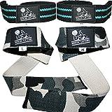 Correas para levantamiento de pesas, 4 unidades, unisex, Aqua Blue & Camo Grey, talla única