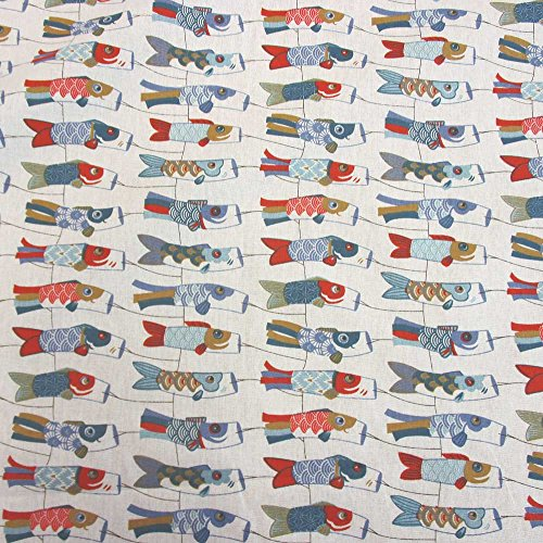 Stoff Baumwollstoff Meterware Japan rot Windkoi Koinobori Lampion Koi Fisch Dekostoff