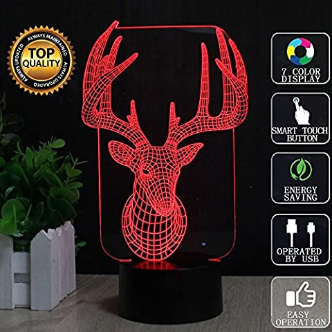 Christmas Deer 3D Optical Illusion Lamp Animal Elk LED Night Lights, FZAI 7 Colors Unique Lighting Effects Home Decoration Touch Table Desk Lamp a Great Christmas Ideal Gift for Kids