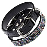 Posh Petz® Diamante Bling Rainbow Crystal Rhinestone Luxury Dog Collar - Black (S 8.5-12