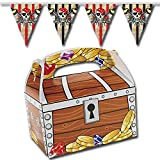 Schatztruhe Schatzkiste & Gratis Wimpelkette 12 Stück / Piraten Tüte Mitgebsel Geschenketüte Kindergeburtstag GiveAway Palandi®