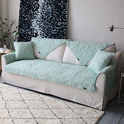 Wohnzimmer Outdoor Loveseat (WOAINI Doppelseitige Sofabezug Baumwolle Sofabezug Couch-abdeckungen Volltonfarbe Wasser waschen Schmutzabweisend Für Wohnzimmer Outdoor-grün 70x70cm(28x28inch))