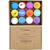 NuSense 12pcs Multi-flavored Essential Bath Bombs Gift Set Handmade Natural Organic Bath Bombs with Rich Bubbles, Colors & Pl