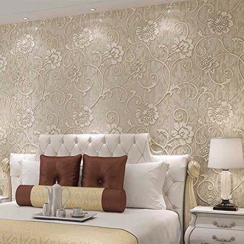 Abgedeckt Creme (Europäische Relief Wohnzimmer Schlafzimmer Tapeten/3d[TV Hintergrundbild]/Outdoor-Stereo-geprägte Tapete/Vliestapete abgedeckt-A)