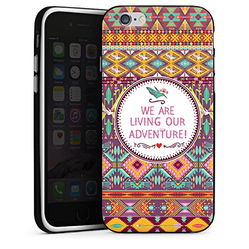 Apple iPhone X Silikon Hülle Case Schutzhülle Ethno Abenteuer Bunt Silikon Case schwarz / weiß