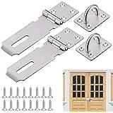AFASOES Hasp 2 stuks veiligheidsslot, roestvrij staal, deurslot, 12,2 cm (5 inch), veiligheidsoverval, hangslot, deur, hasp-s
