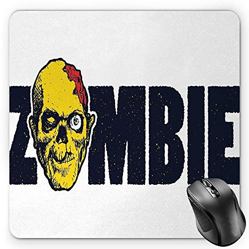 HYYCLS Zombie Alfombrilla de Ratón, Dead Human Face Caricature with Zombie Typography Style Monster Illustration, Standard Size Rectangle Non-Slip Rubber Mousepad, Dark Blue Yellow