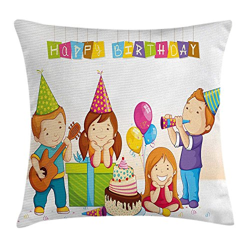 Birthday Decorations for Kids Throw Pillow Cushion Cover, Colorful Kindergarten Party Cone Hats Cake Boxes Music Print, Decorative Square Accent Pillow Case, 18 X 18 Inches, Multicolor -