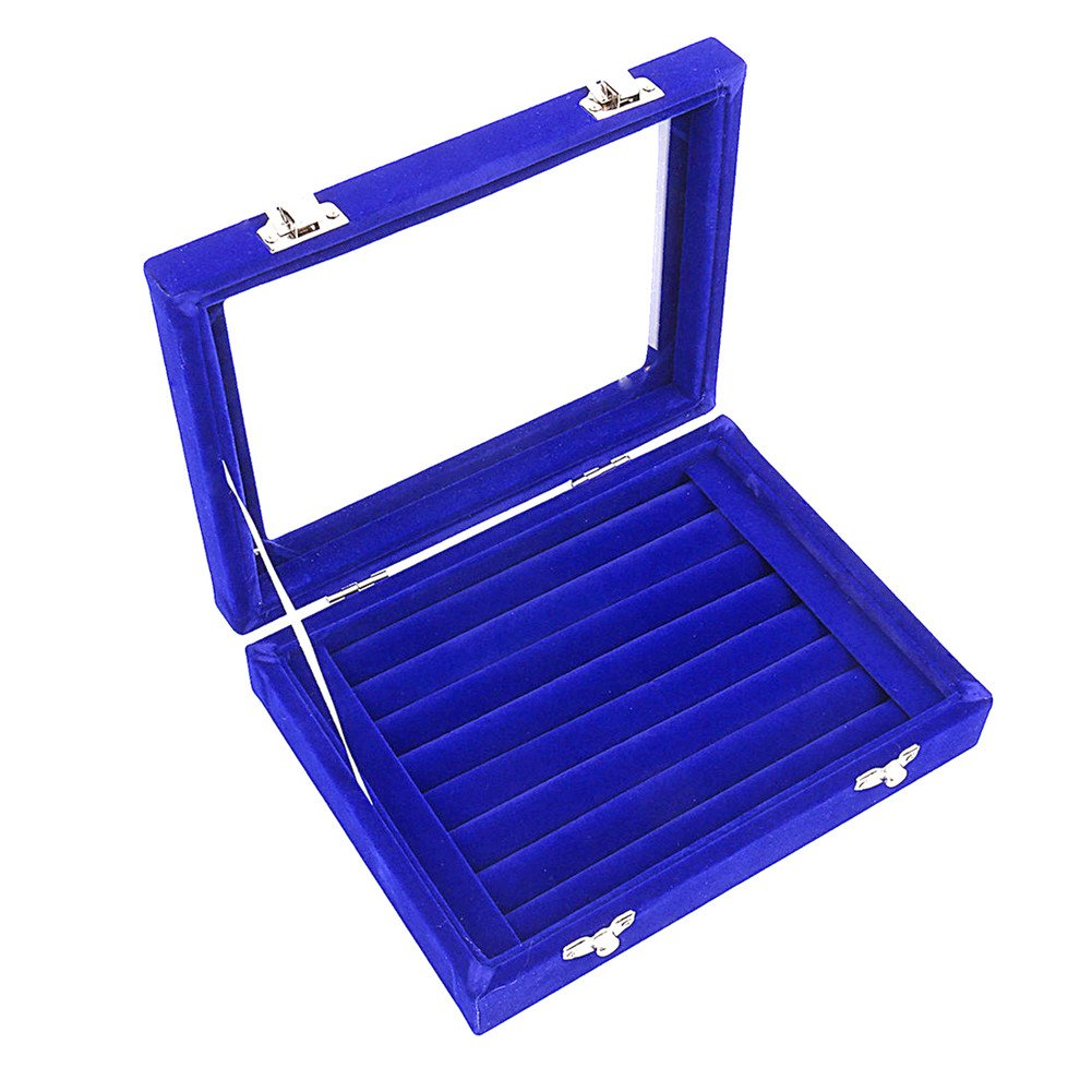 Caja organizadora Ivosmart con 24 secciones de terciopelo y tapa de vidrio para guardar joyas, con exhibidor de anillos o bandeja para aretes.