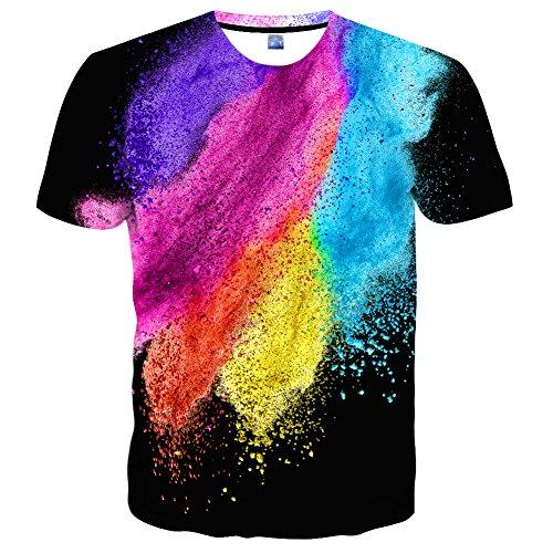T-shirts Nette Männer Für (EOWJEED Unisex Casual 3D Nette Katze Bedruckte Rundhals Kurzarm T-Shirts - S)