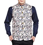 Wintage Men's Premium Rayon Grandad Printed Nehru Jacket Vest Waistcoat: S