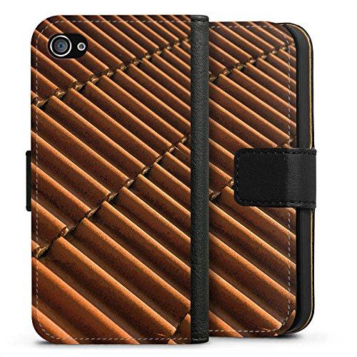 Apple iPhone X Silikon Hülle Case Schutzhülle Dachziegel Ziegel Look Muster Sideflip Tasche schwarz