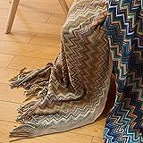 Ai.Moichien 130 cm * 150 cm Böhmen Zick-zack-form Quasten Decke Weiche Sofa Dekorative Sofa Stuhlabdeckung Tischdecke braun (51