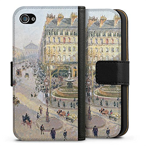 Apple iPhone X Silikon Hülle Case Schutzhülle Camille Pissarro The Avenue de L'Opera Kunst Sideflip Tasche schwarz