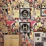 QBTZ American Retro Vintage Girl Tapete Poster Bilderrahmen Kleidung Shop Cafe Bar Schlafzimmer Dressing Room Wallpaper,Bräunen,5,3 Quadratmeter pro Rolle