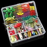 【 Mejor Deals para Navidad 】 OriGlam 131pcs Super valor señuelo de pesca Set Kit Lots con incluye caja de aparejos, señuelos de pesca cebos Tackle Set para trucha de agua dulce Bass salmón