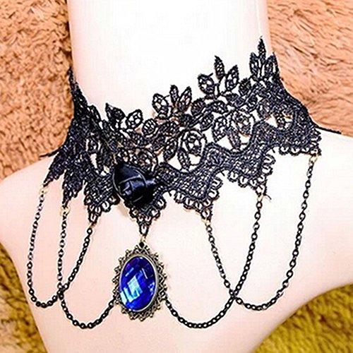 spritech (TM) Damen Mädchen Fashion Persönlichkeit Vintage Retro Halskette Gothic Palace Noble Stil Spitzen Juwel Quaste Halsketten, style-3, Einheitsgröße