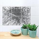 Boubouki Wasserabweisende Fliesenaufkleber Map Paris - Transparent – für Bad und Küche | 15 x 15 cm
