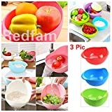 #10: REDFAM Best Quality Rinse Bowl Pack Of 3 For Rice, Pulses, Fruits, Vegetables, Noodles, Pasta Kitchen Washing Bowl,Washing Drain Basket,Storage Basket or Strainer for Storing and Straining In Green, Blue And Pink,Rice Pulse Bowl,Rice Washing Strainer Bowl,Fruit & Vegetable Storage Basket,Grain & Vegetable Washing Bowl,Plastic Washing Bowl & Strainer