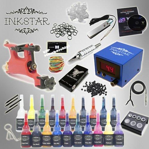 Complete Tattoo Kit Inkstar Venture Rotary Machine Gun Power Supply 20 Color Truecolor Starter Ink Set by Inkstar (Rotary Tattoo Gun Power Supply)