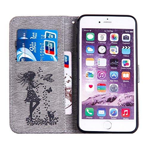 FESELE iPhone 6 Plus / 6S Plus coque Bling bling en cuir PU mousseux couverture avec strass Diamant Belle femme de papillon de chat motif fleur de peinture étui en cuir PU Cuir Flip Magnétique Portefe Gris