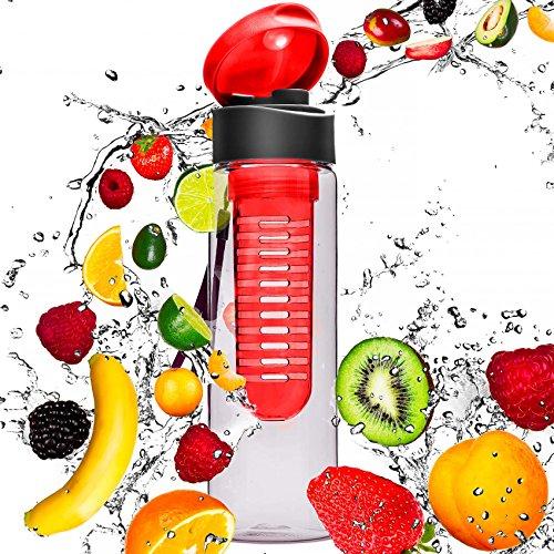 Wasserflasche mit 700ml Inhalt: Trinkflasche mit Früchtesieb »FruitExplosion« für Schorlen / In Grün, Lila, Blau, Schwarz, Türkis und Rot / Sportflasche aus spülmaschinenfestem Tritan-Material Rot