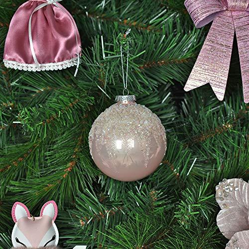 Bellera 3 palline di vetro natalizie dipinte a mano e decorate, perfette per abbellire il vostro albero di natale