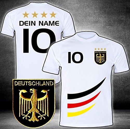 ElevenSports Deutschland Trikot mit GRATIS Wunschname + Nummer + Wappen Typ #D 2019 günstig im EM/WM Weiss - Geschenke für Kinder,Jungen,Baby. Fußball T-Shirt personalisiert